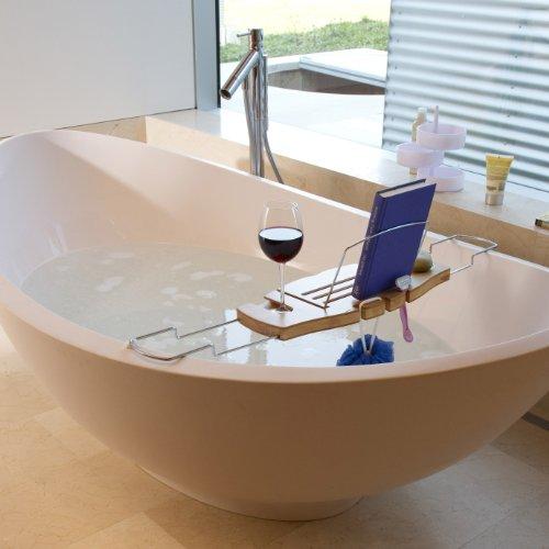 Bamboo and Chrome Bathtub Caddy - The Bathtub Diva   Bath Recipes ...