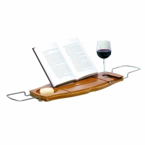 Bamboo and Chrome Bathtub Caddy - The Bathtub Diva | Bath Recipes ...