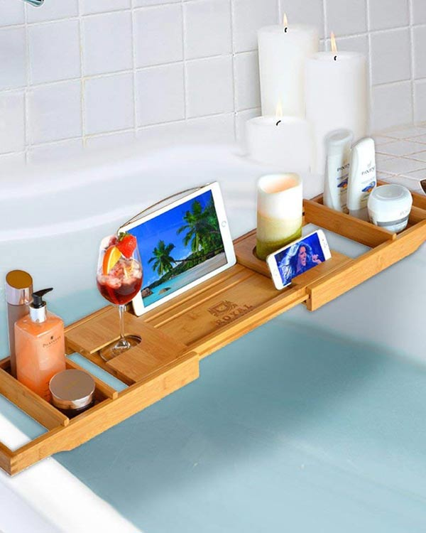 Luxury Bamboo Bathtub Caddy Tray - The Bathtub Diva