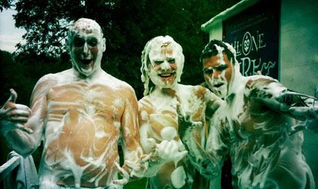 Happy foamy people